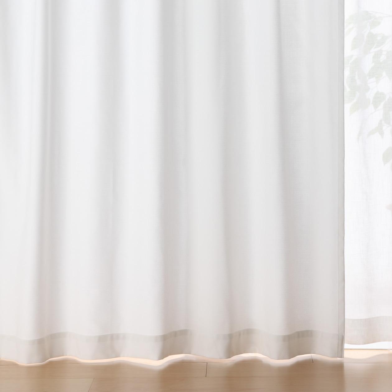ポリエステル綿変り織プリーツカーテン/オフ白