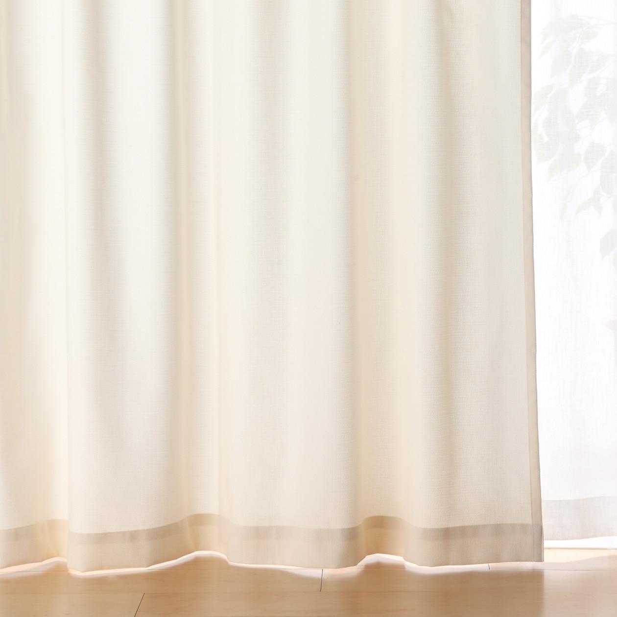 ポリエステル綿変り織プリーツカーテン/ベージュ 幅100×丈200cm/生成