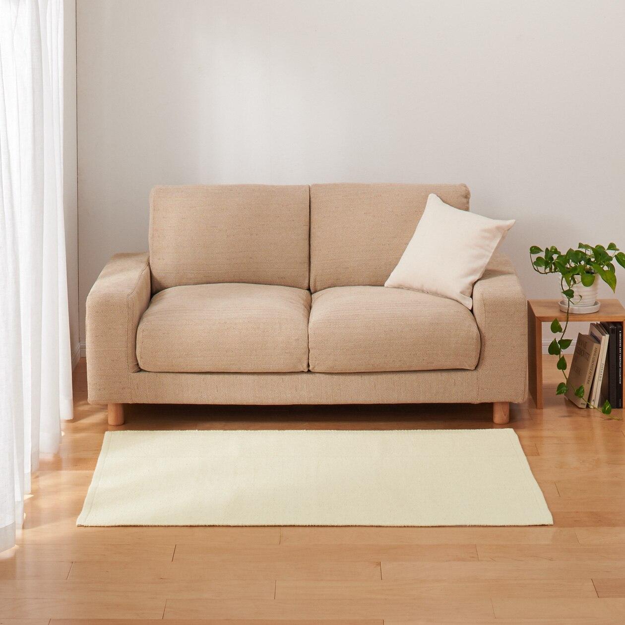 インド綿手織ラグ/ダークグレー 100×140cm/生成