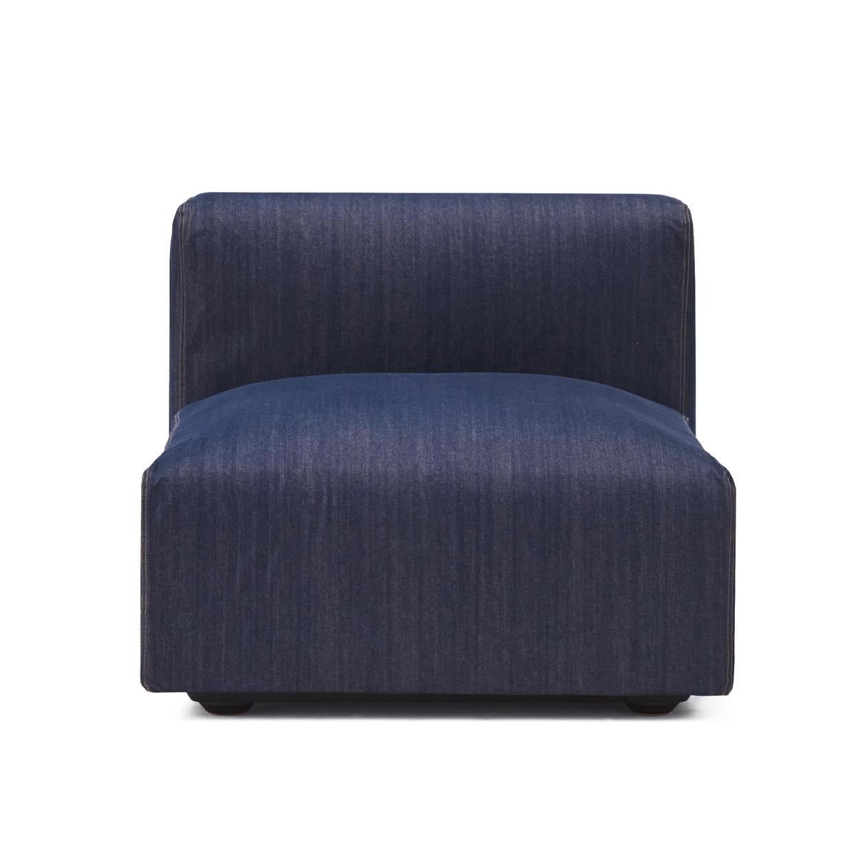 RoomClip商品情報 - 綿デニムユニットソファアームレス・大・幅77cm用カバー/ブルー ブルー