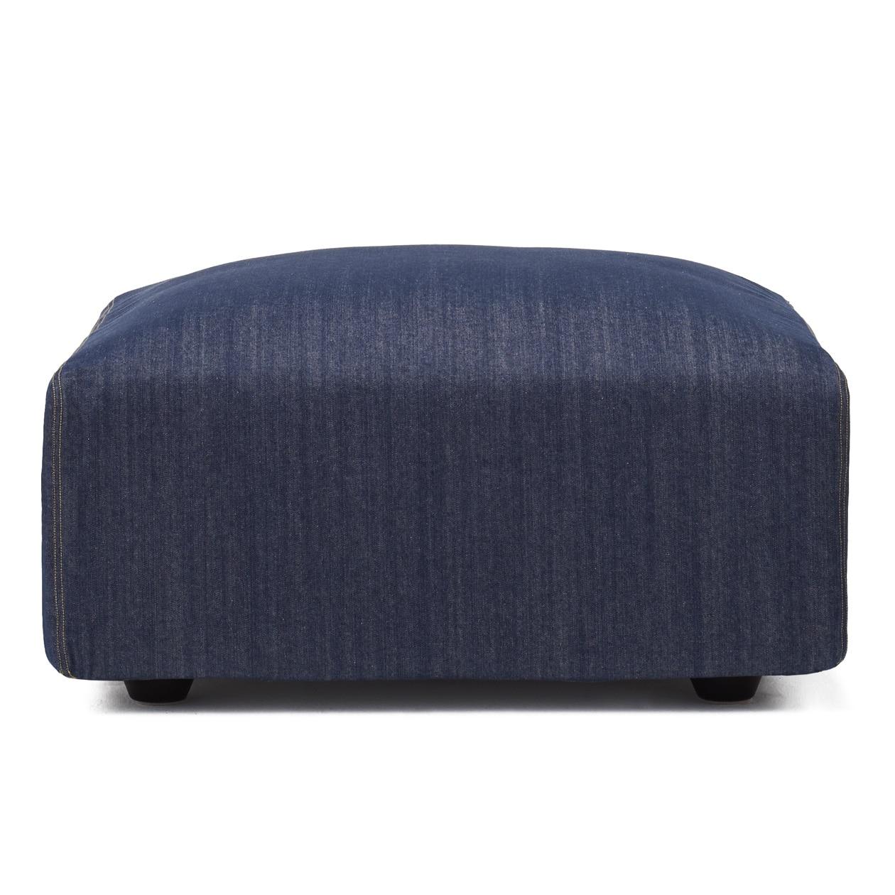 綿デニムユニットソファオットマン・大・幅77cm用カバー/ブルー