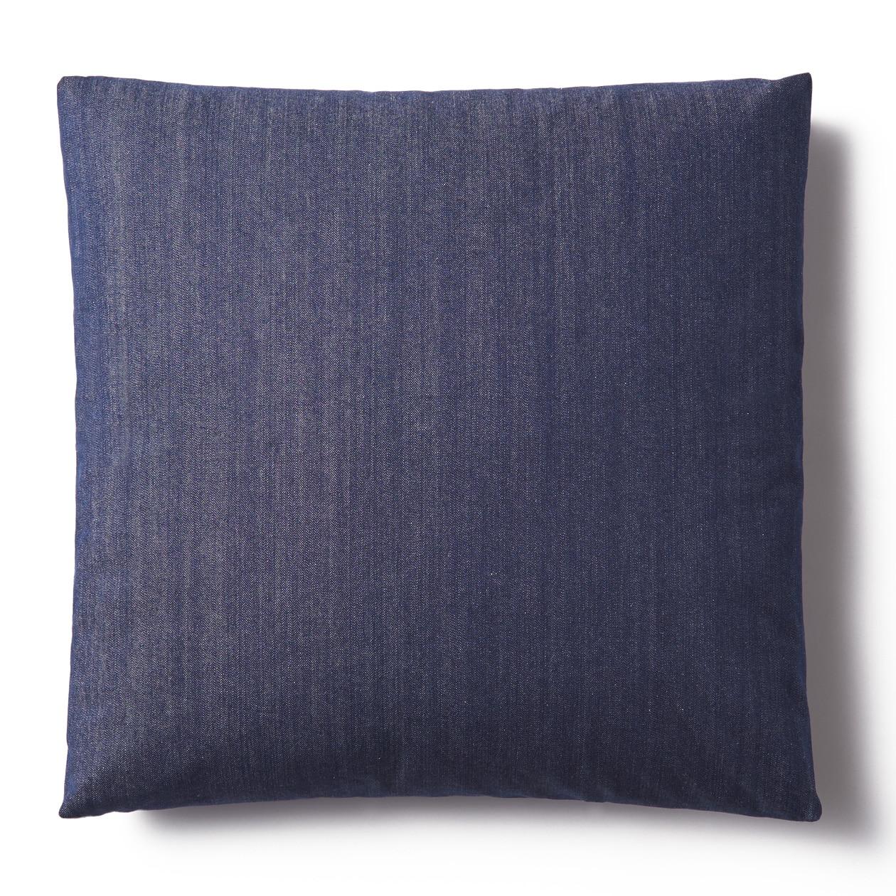 綿デニムユニットソファ用羽根クッションカバー/ブルー ブルー