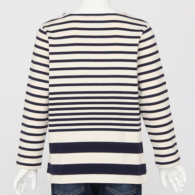 無印良品 | オーガニックコットン太番手パネルボーダー長袖Tシャツ(キッズ)キッズ110・ネイビー 通販