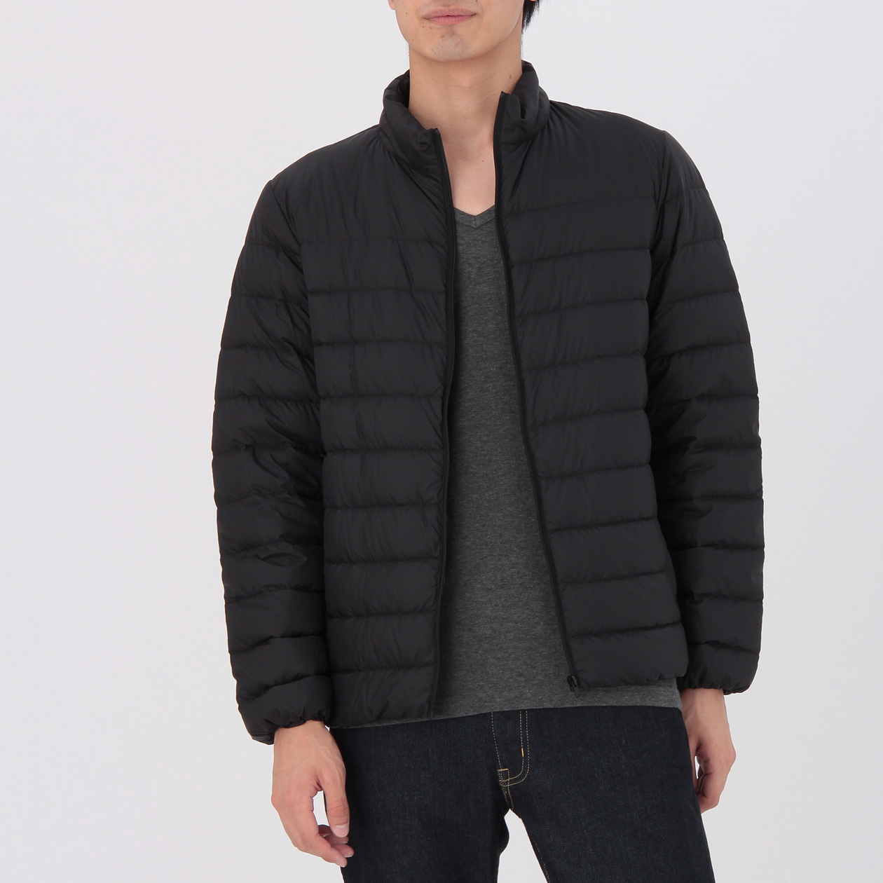 light weight french down pocketable stand collar blouson men xl black muji. Black Bedroom Furniture Sets. Home Design Ideas