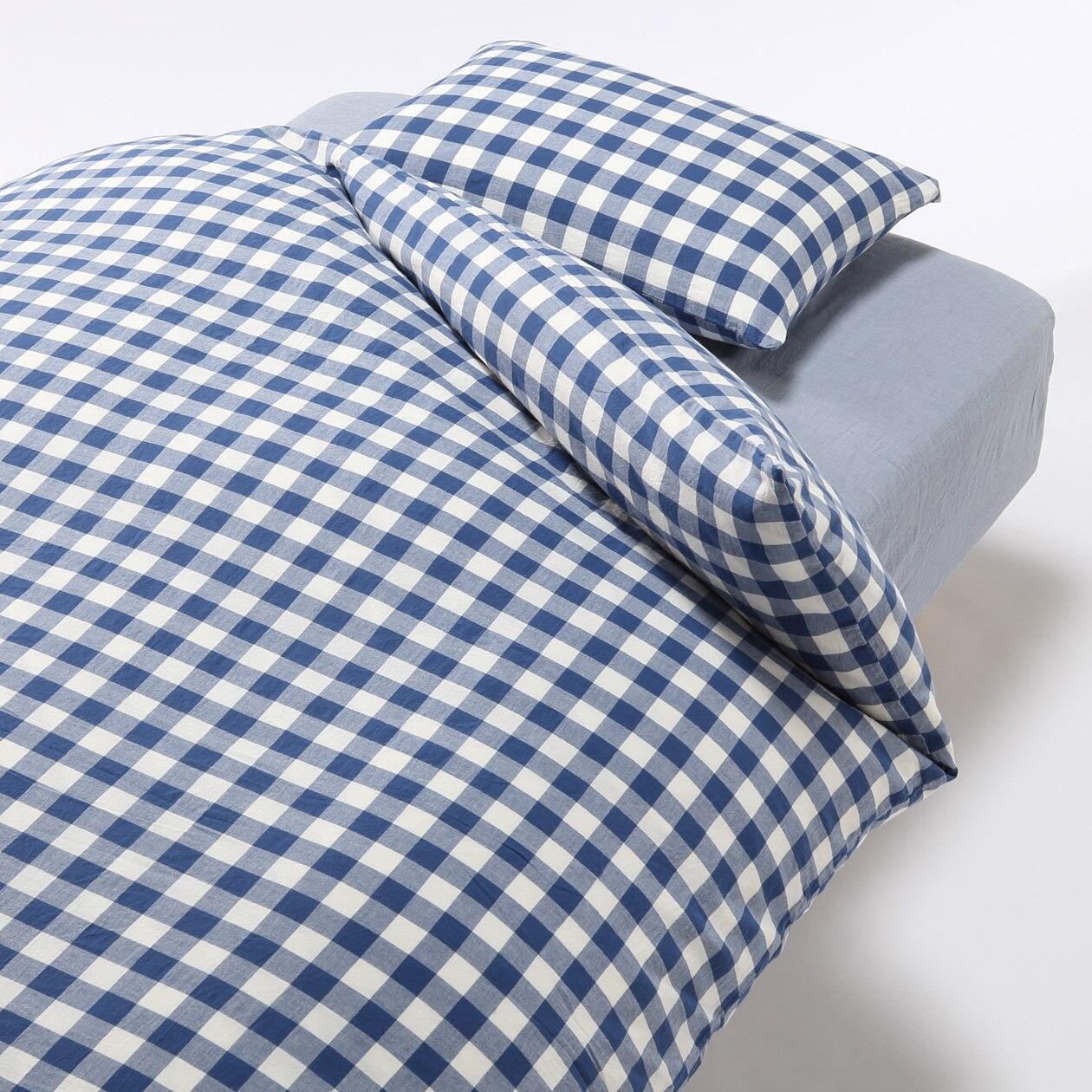 オーガニックコットンふとんカバーセット/ベージュ/チェック ベッド用 ベッド用/ブルー