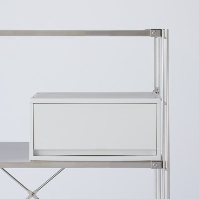 ポリプロピレンケース・引出式・横ワイド・深型・ホワイトグレー 約幅37×奥行26×高さ17.5cm