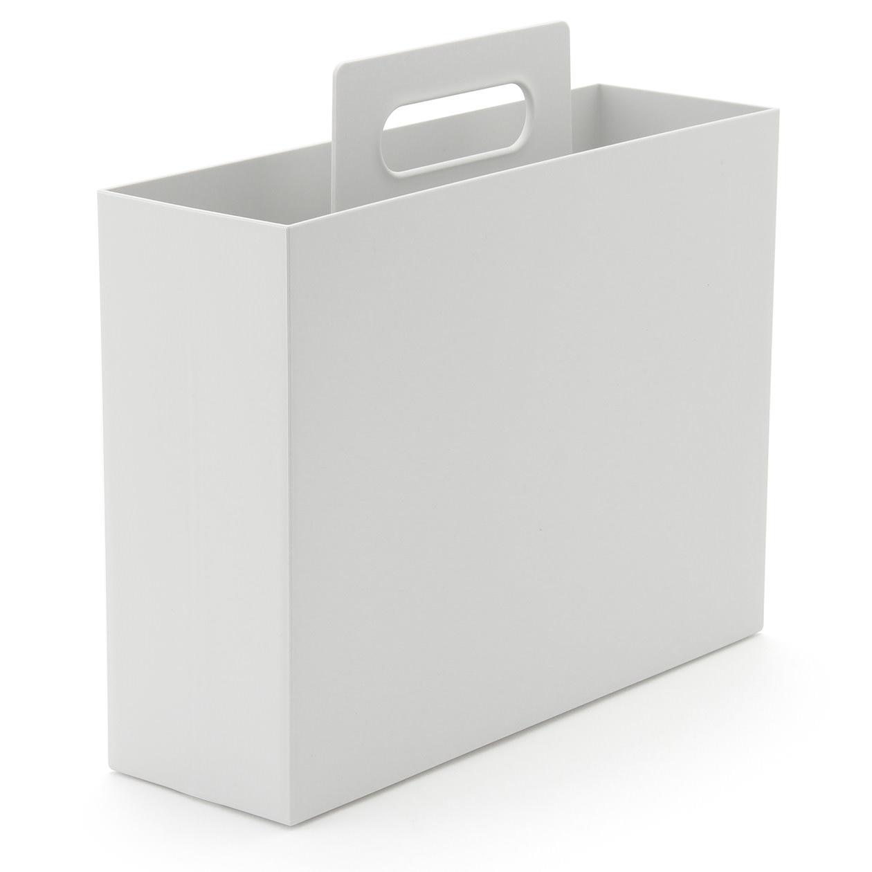 【まとめ買い】PP持ち手付きファイルボックス・スタンダードタイプ・ホワイトグレー