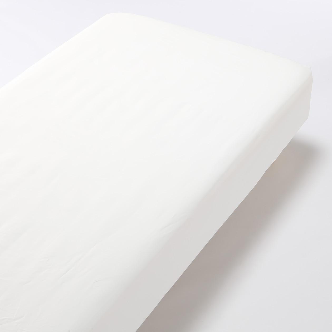 オーガニックコットン高密度織ボックスシーツ・Q/オフ白