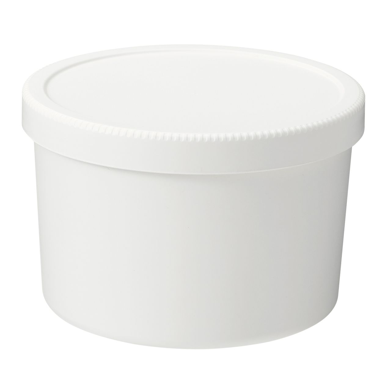 PP LUNCH BOX WITH SCREW LID / ROUND / WHITE / 460ml