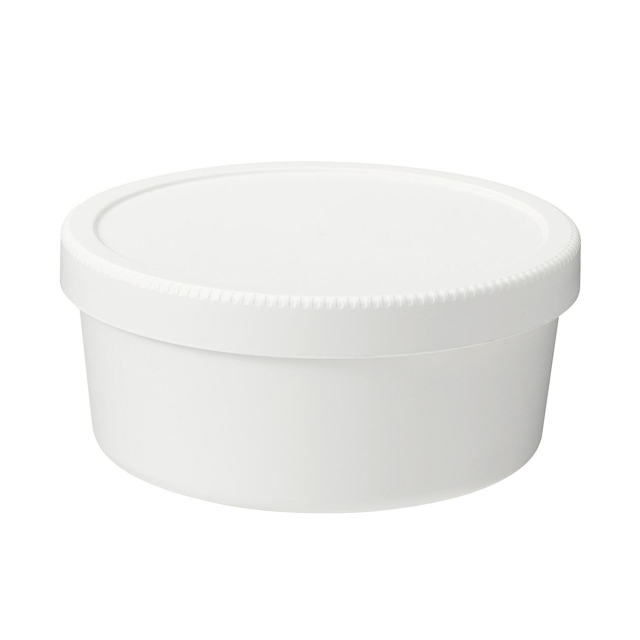 ポリプロピレンスクリューキャップ丸型弁当箱・白