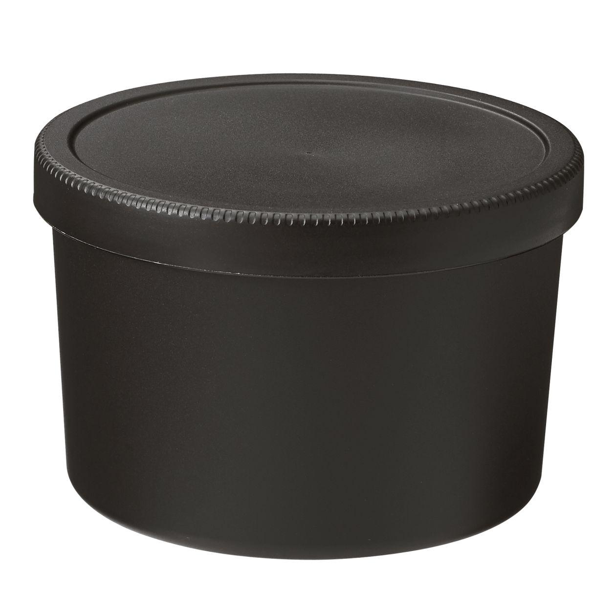 ポリプロピレンスクリューキャップ丸型弁当箱・黒