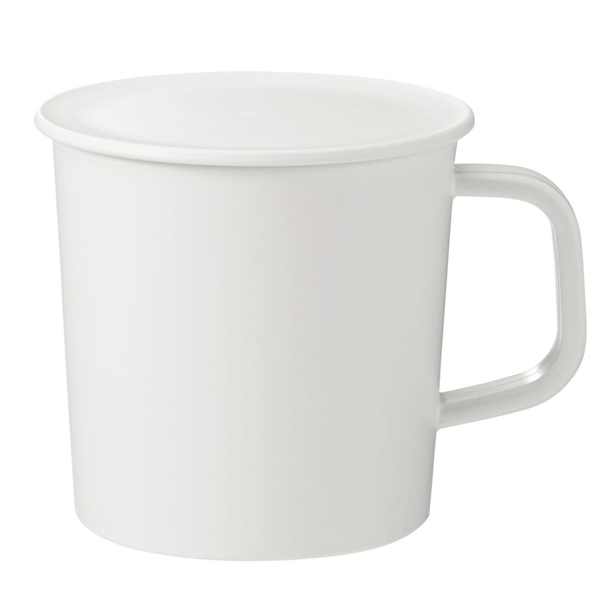 ポリプロピレンふた付きマグカップ・白