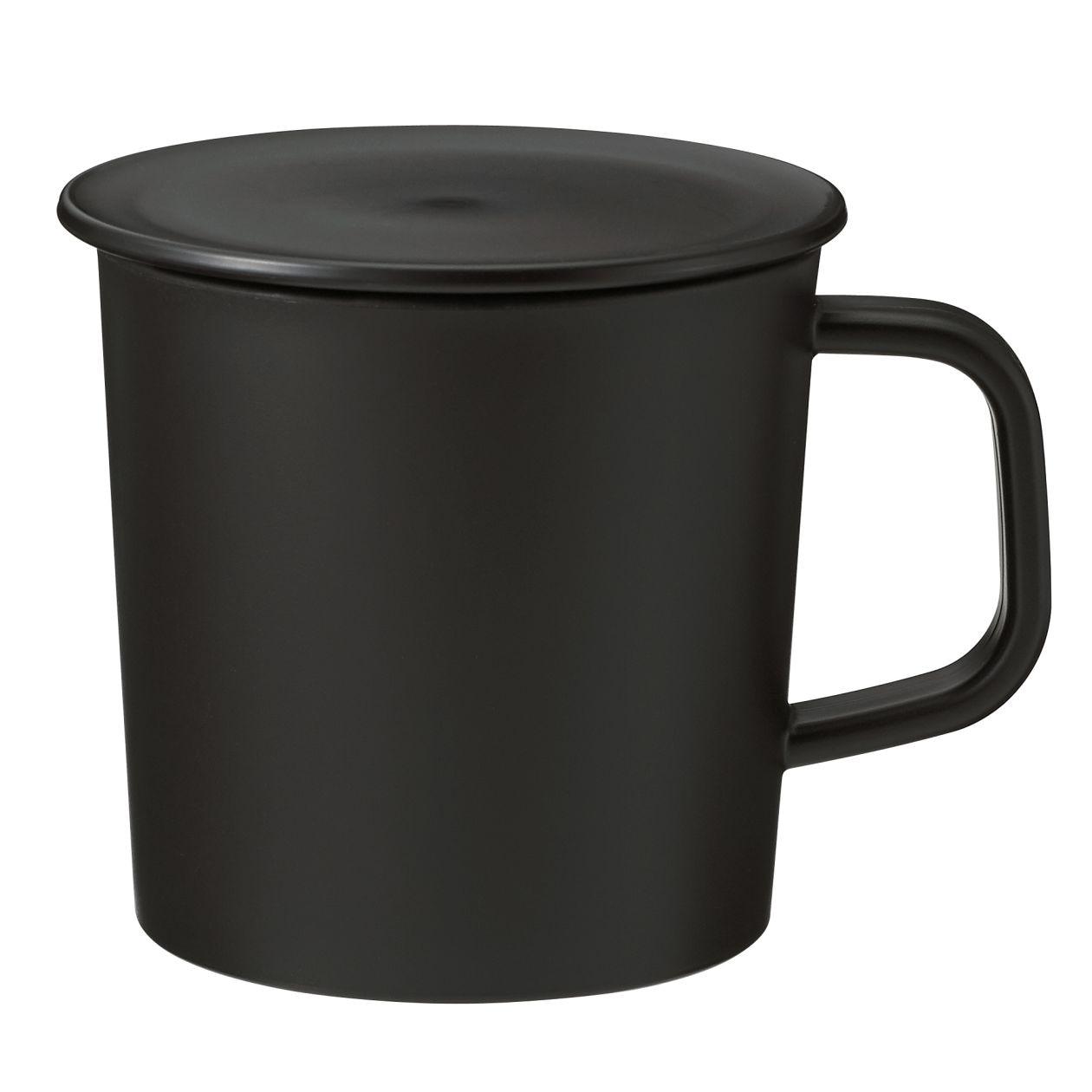 ポリプロピレンふた付きマグカップ・黒