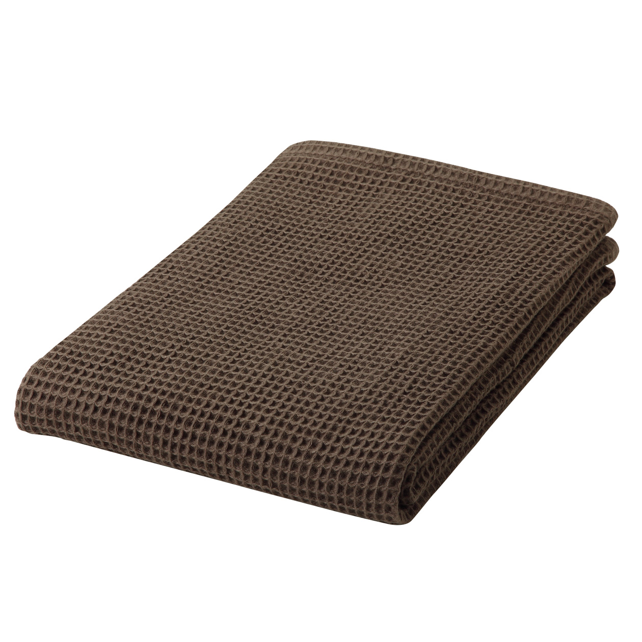 ORGANIC COTTON WAFFLE SMALL BATH TOWEL THIN BROWN