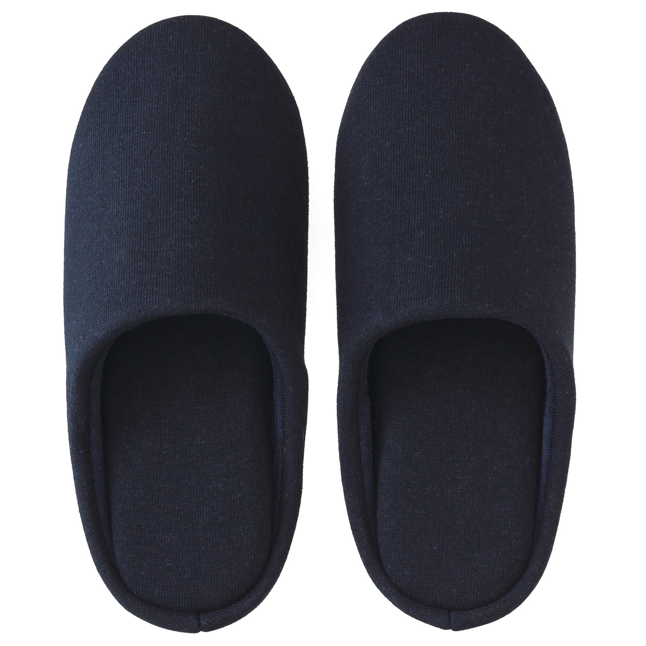 COTTON JERSEY INNER SOLE CUSHION SLIPPERS M NAVY