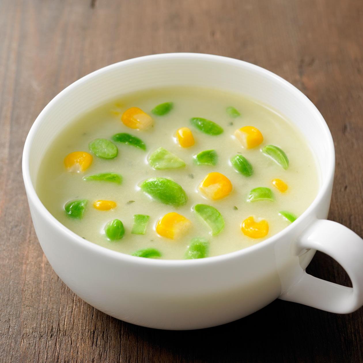 食べるスープ 枝豆とコーンの豆乳ポタージュ
