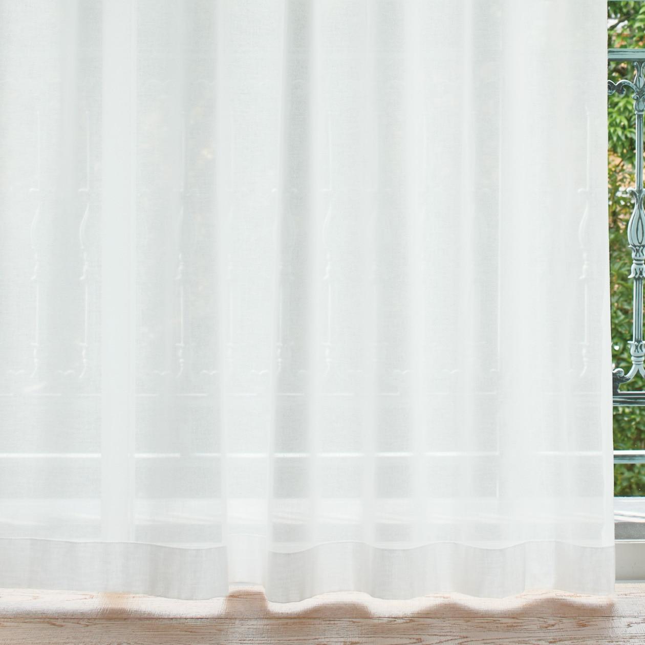 綿ボイルプリーツカーテン/オフ白の写真