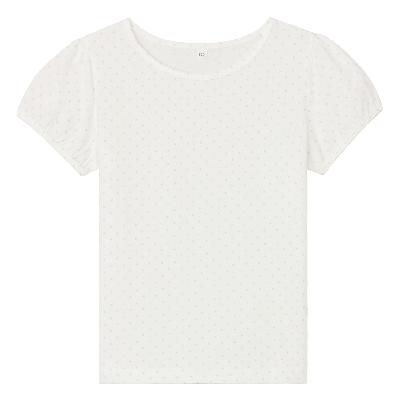 インド綿天竺編み水玉パフスリーブTシャツ(キッズ)