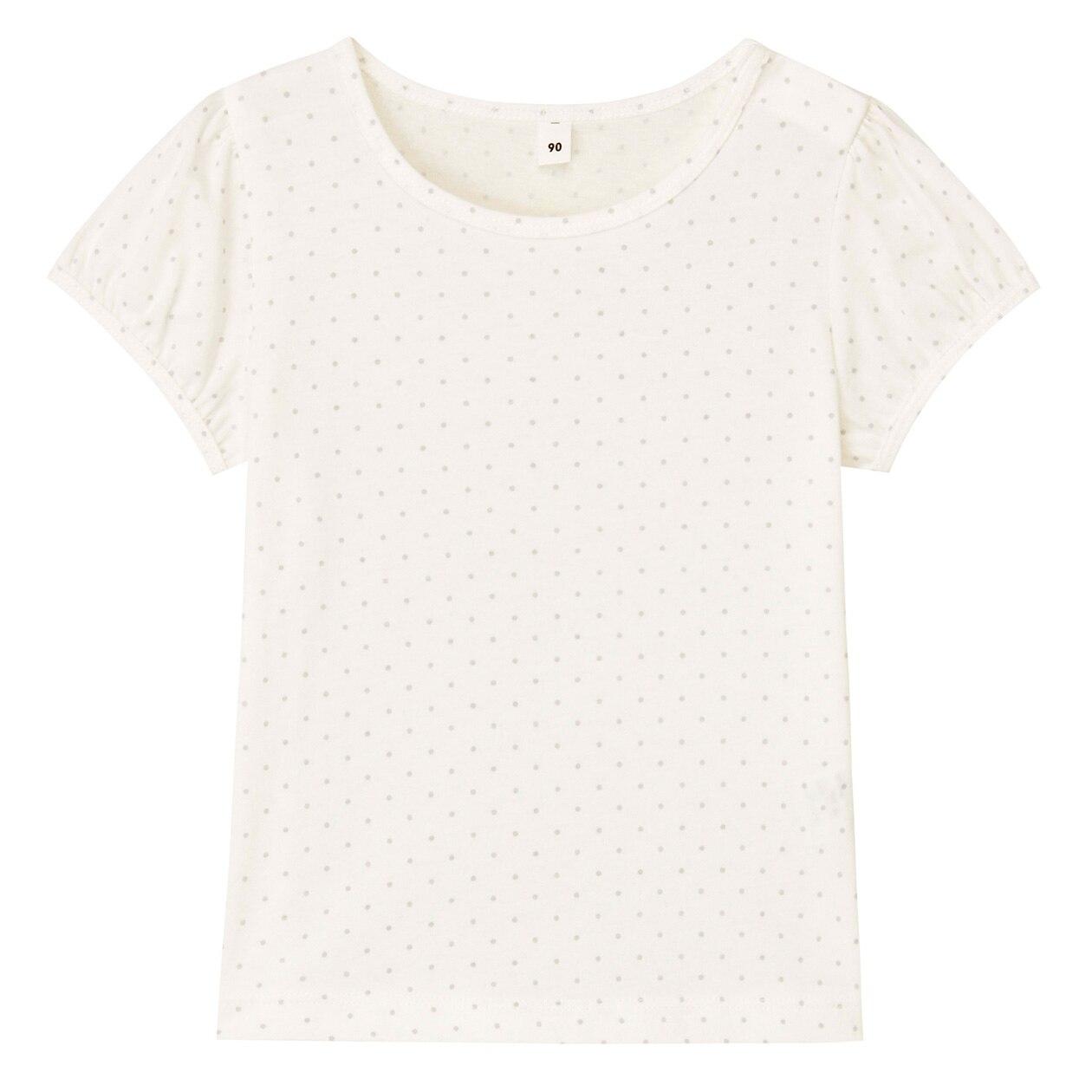 インド綿天竺編み水玉パフスリーブTシャツ(ベビー)