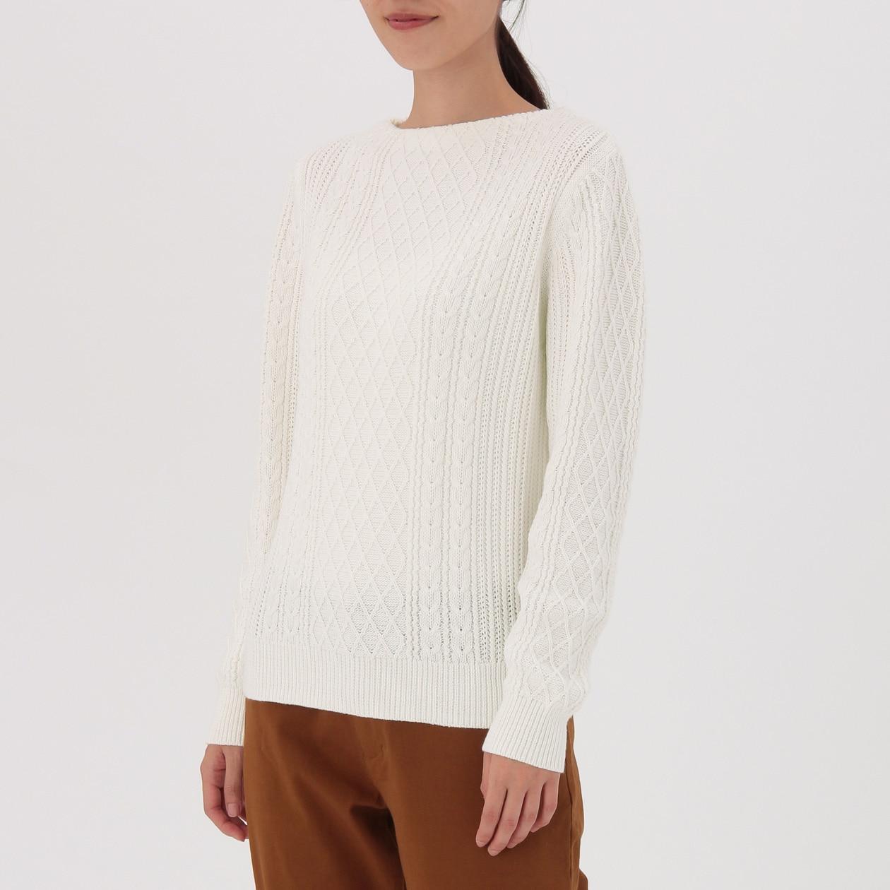 オーガニックコットンケーブル柄セーター