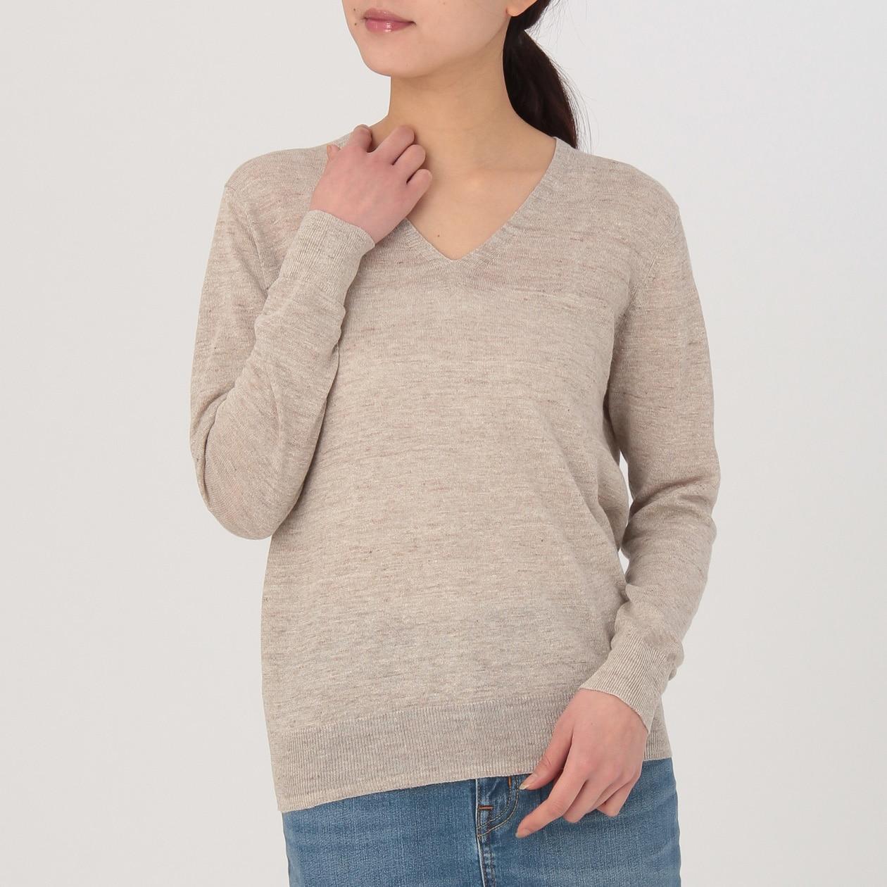 フレンチリネンUVカットVネックセーター