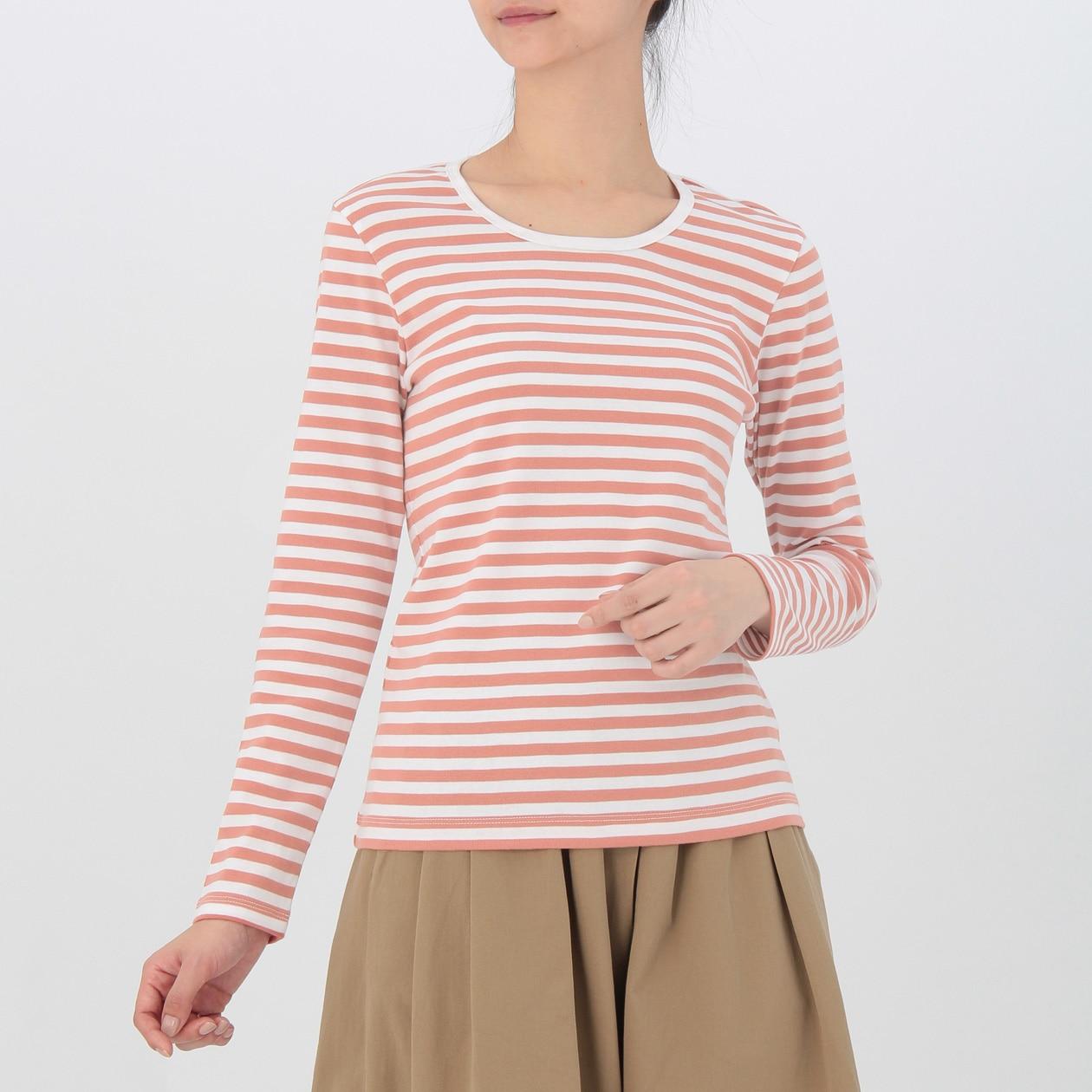 無印良品 ボーダーTシャツ ピンク_画像4