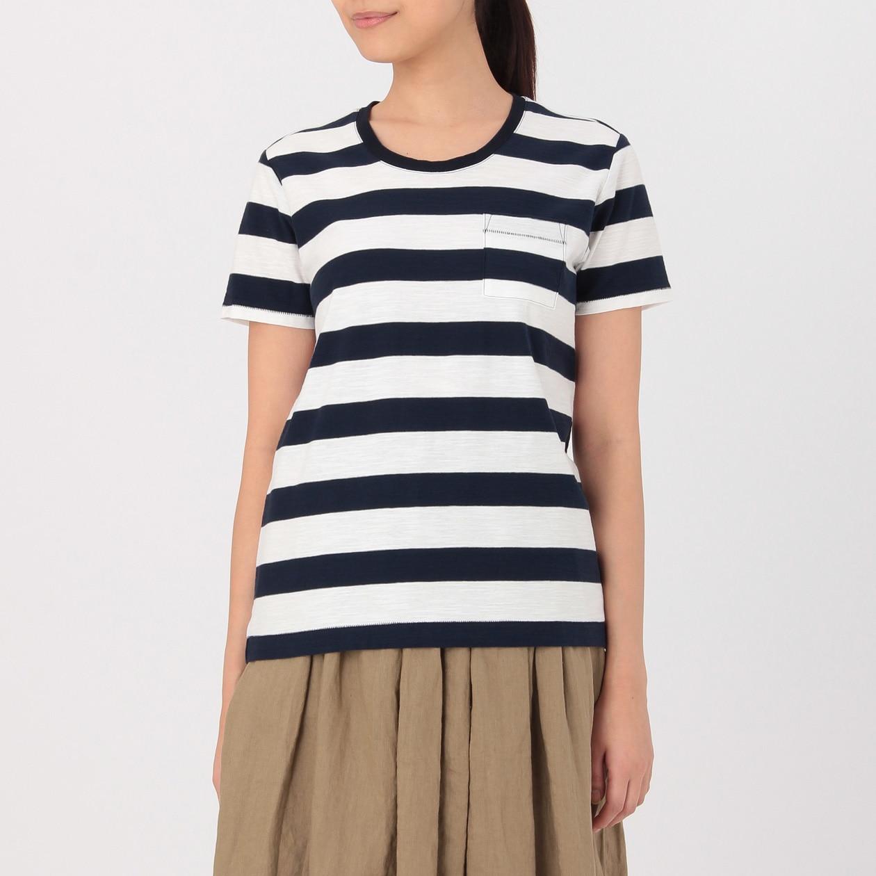 オーガニックコットンムラ糸クルーネック半袖Tシャツ(ボーダー)