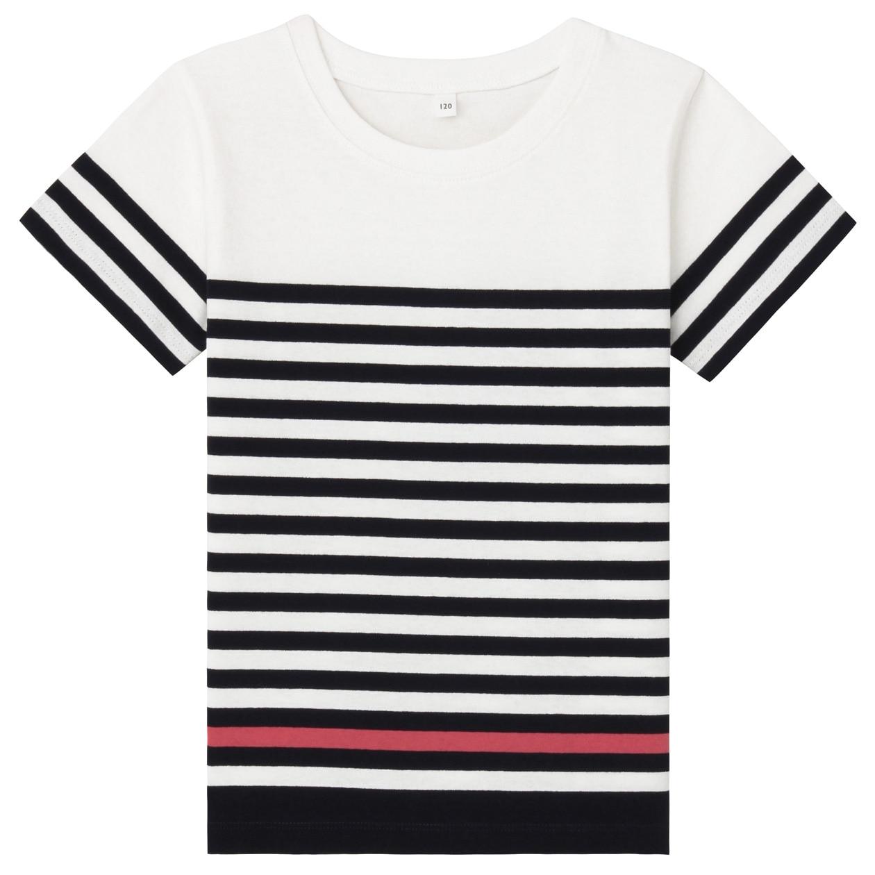 さらりと着られるパネルボーダー半袖Tシャツ(キッズ)
