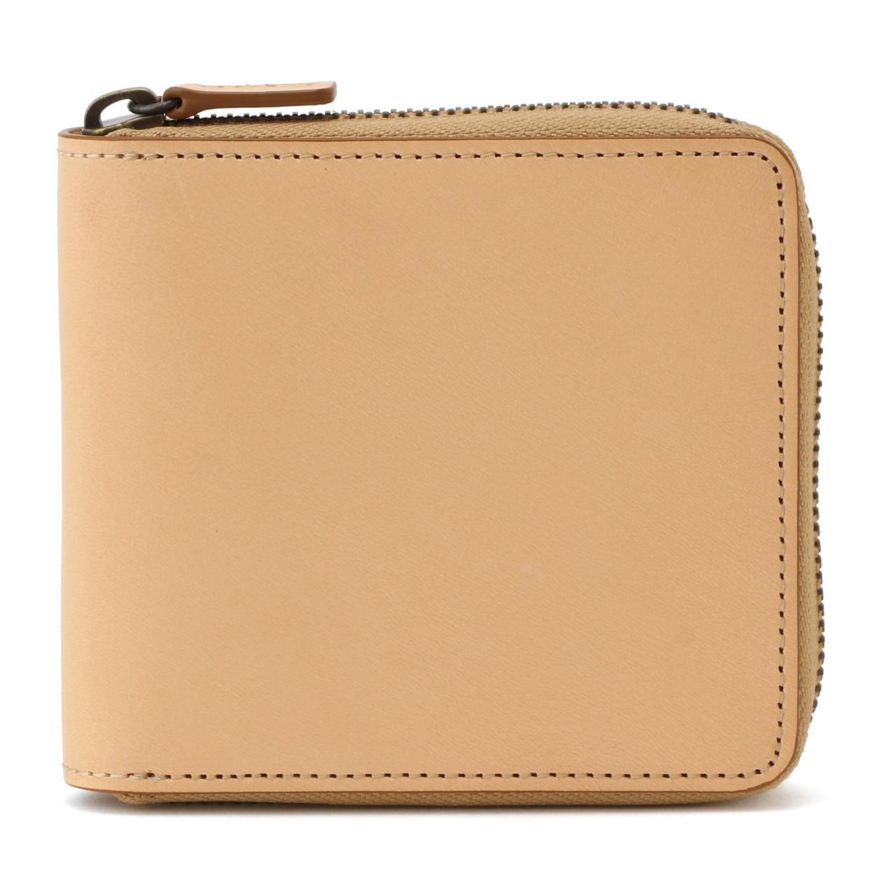 イタリア産ヌメ革ラウンドファスナー二つ折り財布