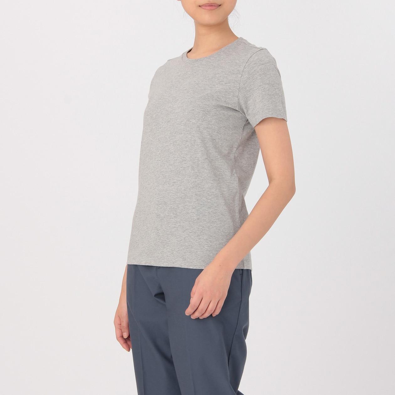 インド綿天竺編みクルーネック半袖Tシャツ