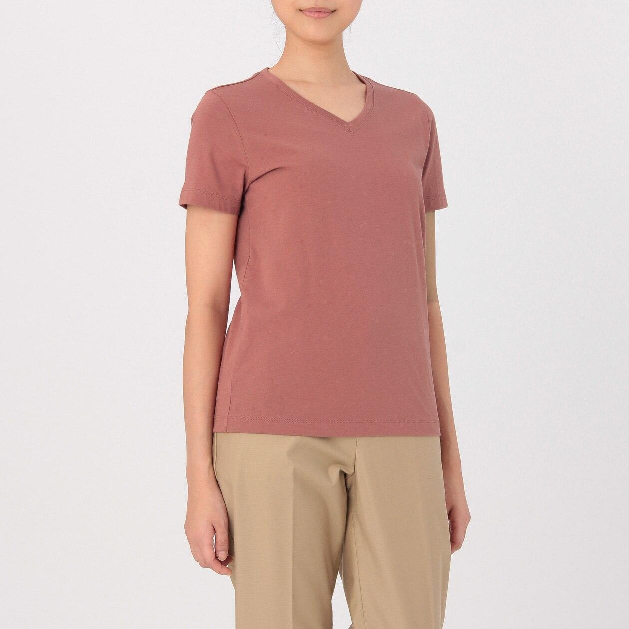 【無印良品】65 %OFF 【レディース】オーガニックコットンVネック半袖Tシャツ ライトオレンジ