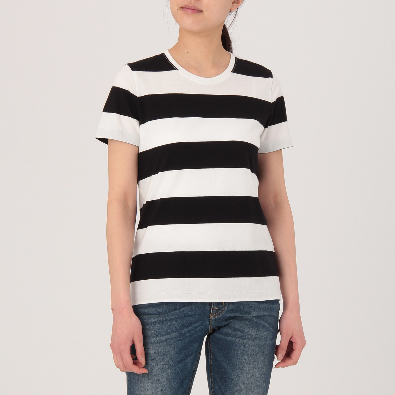 インド綿天竺編みクルーネック半袖Tシャツ(ボーダー)