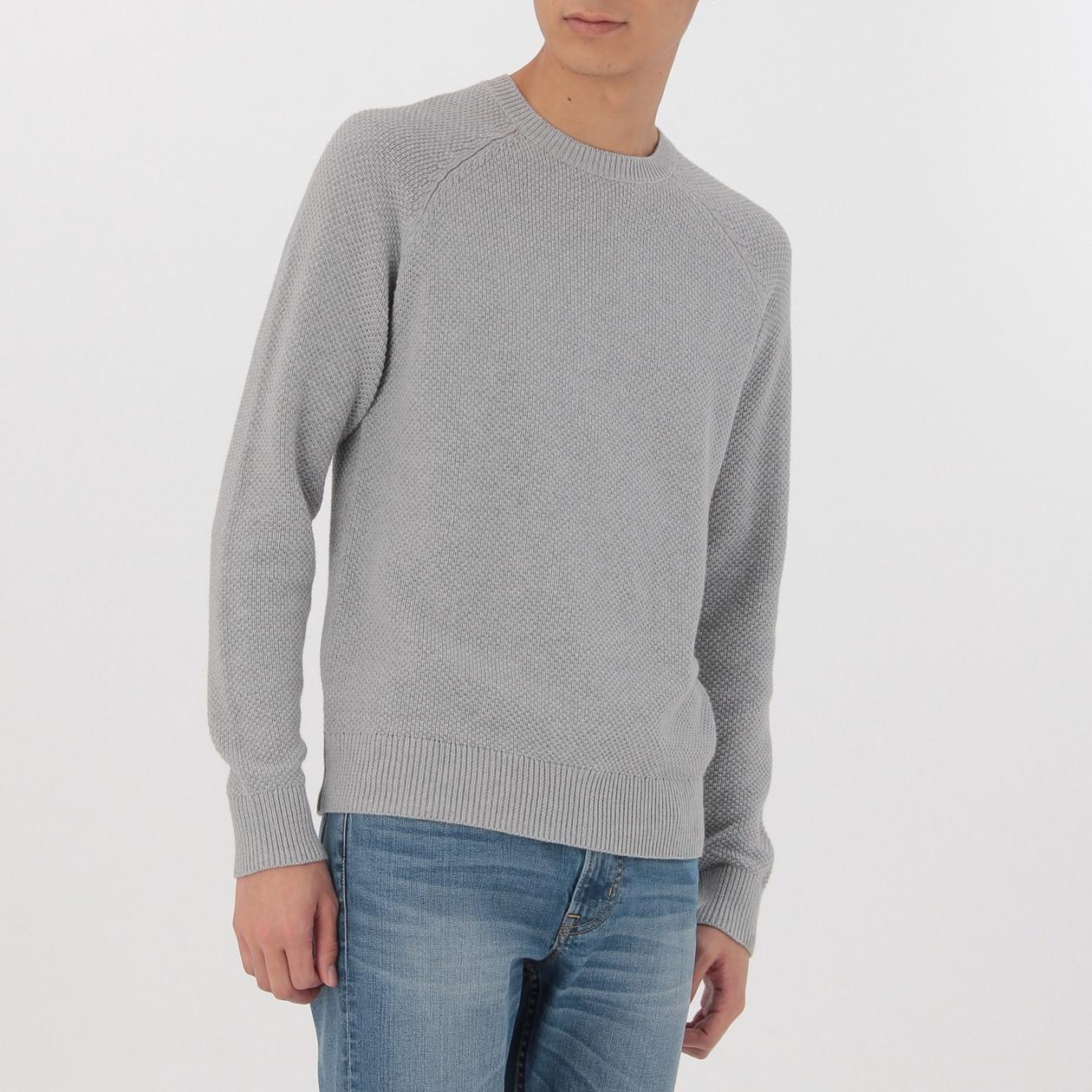 オーガニックコットン鹿の子編みクルーネックセーター
