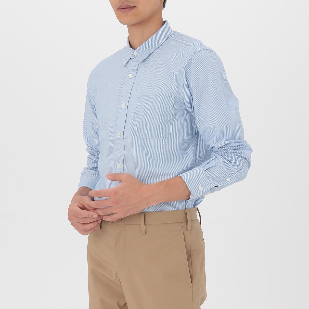 オーガニックコットンブロードストライプシャツ