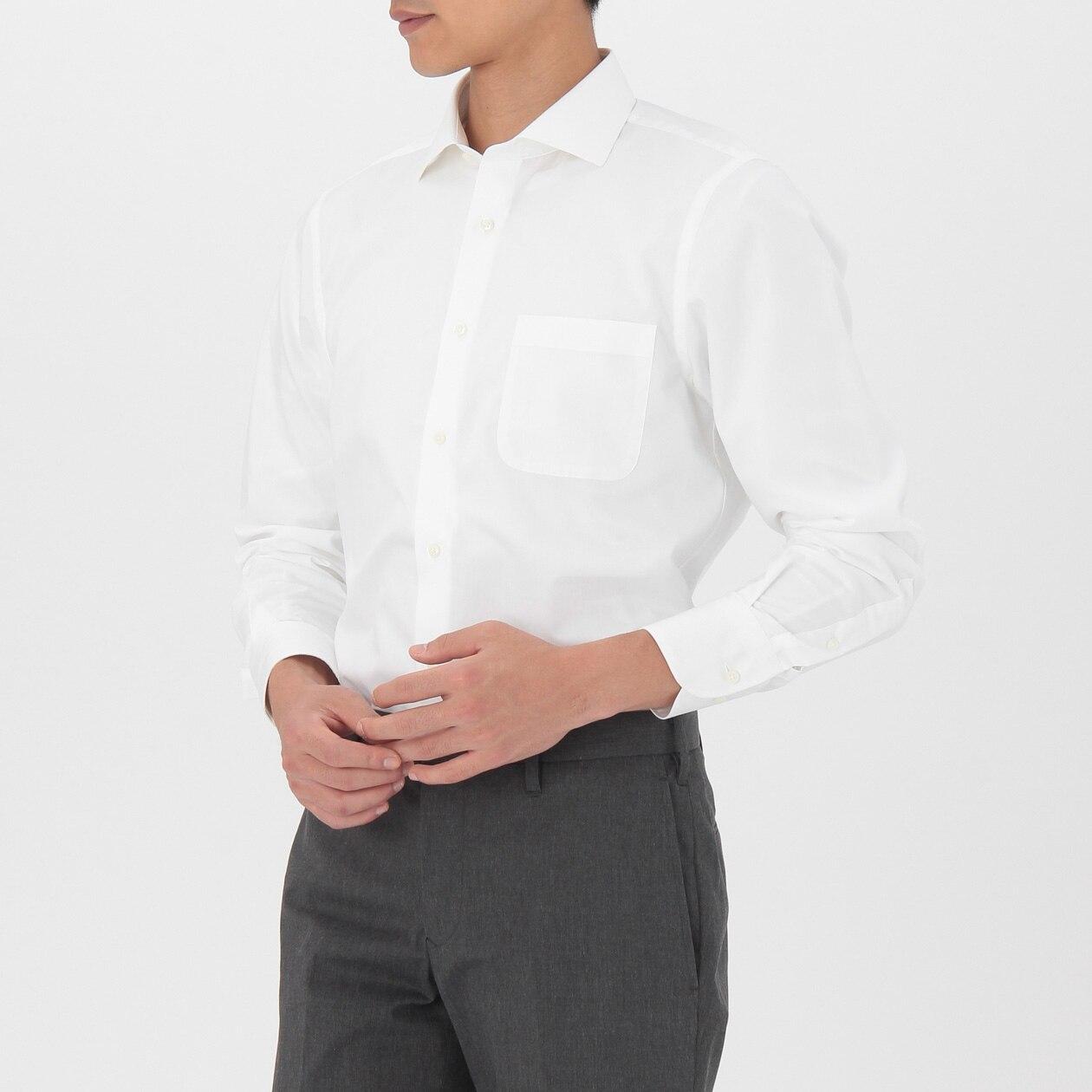 オーガニックコットンブロード形態安定セミワイドカラーシャツ