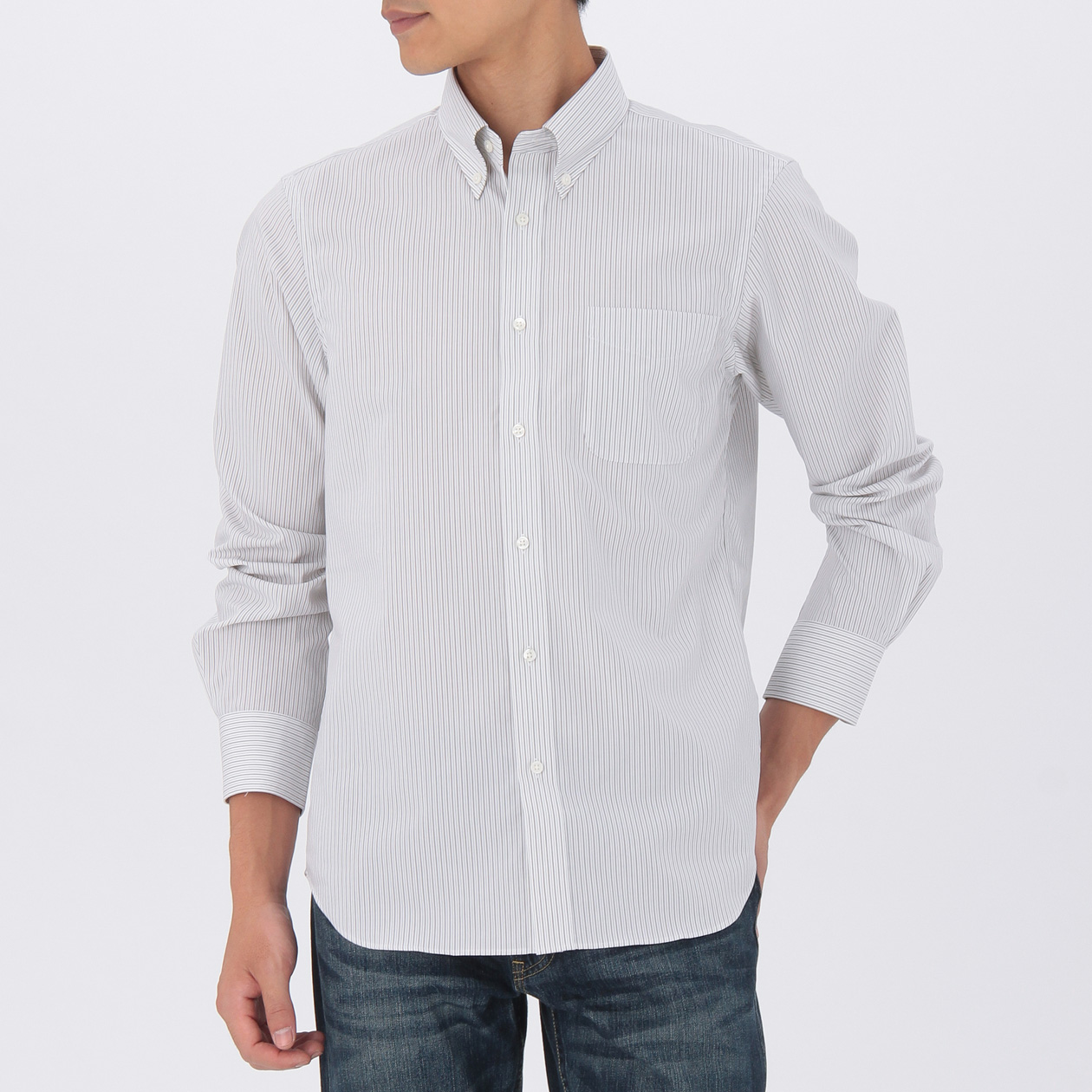 オーガニックコットンストライプ形態安定ボタンダウンシャツ