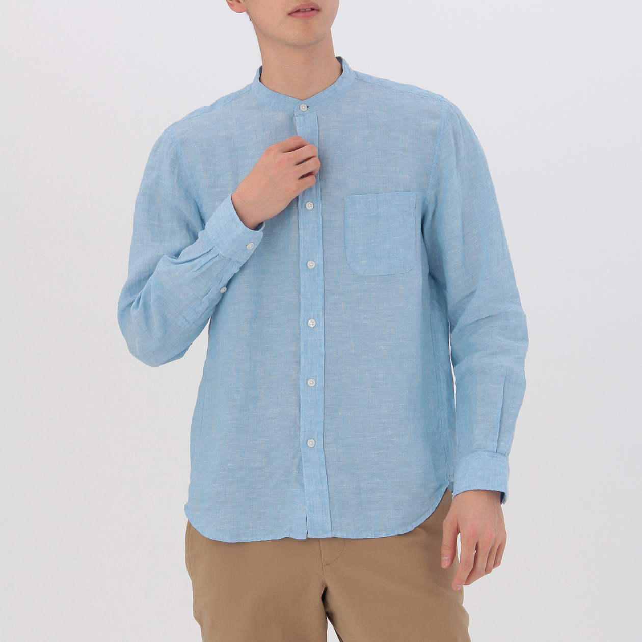 French Linen Washed Stand Collar Shirt Muji