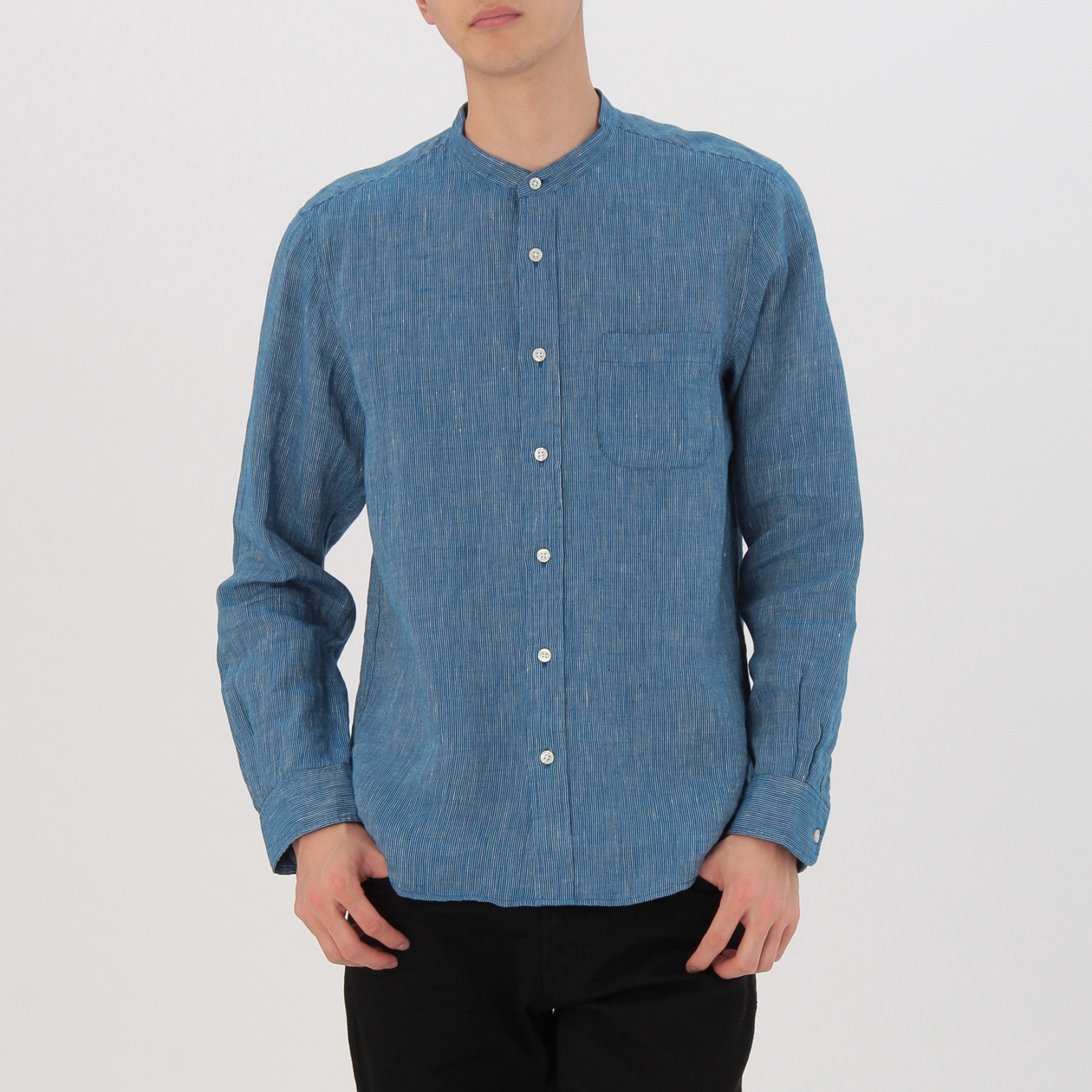French Linen Stripe Stand Collar Shirt Men S Blue Muji