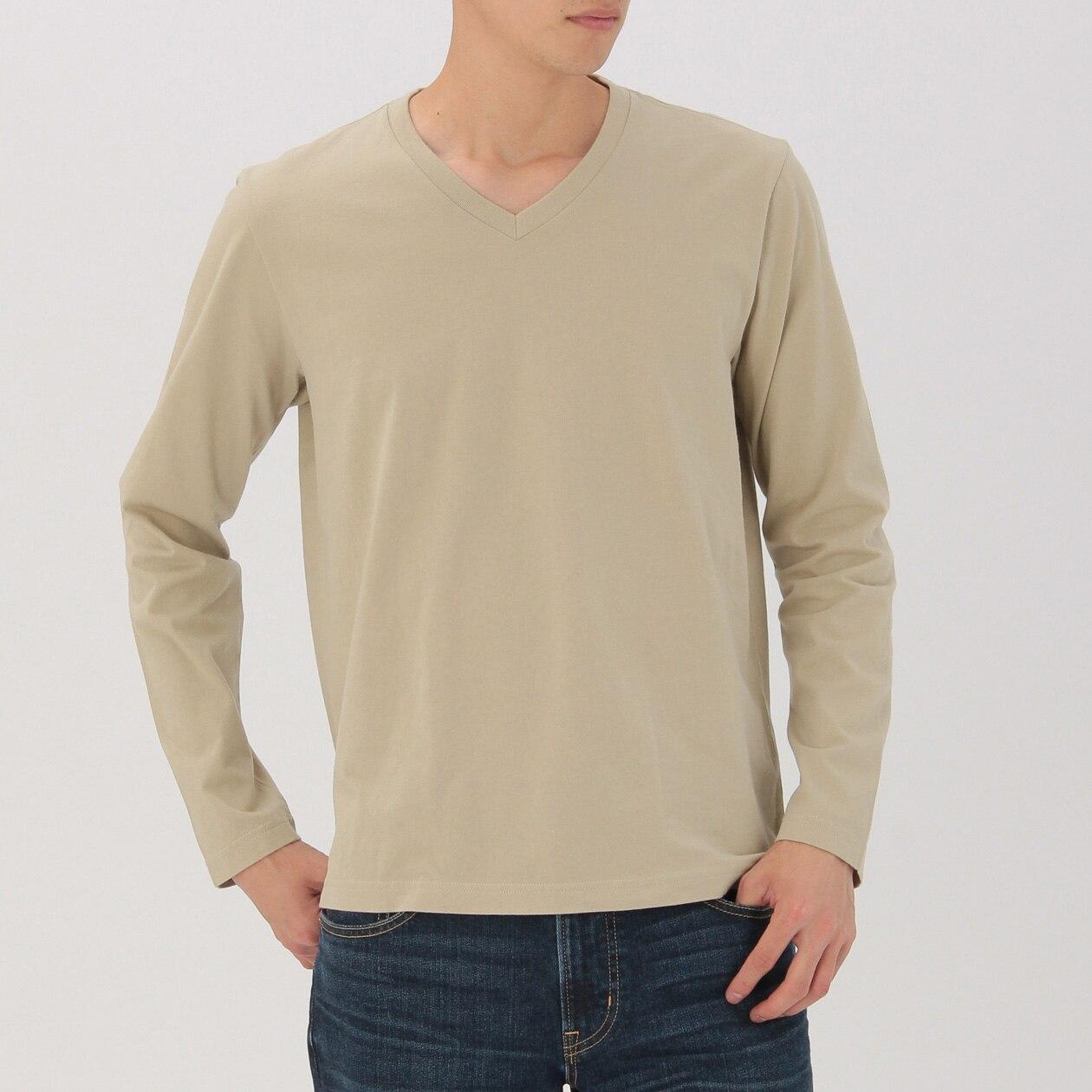 オーガニックコットンVネック長袖Tシャツ