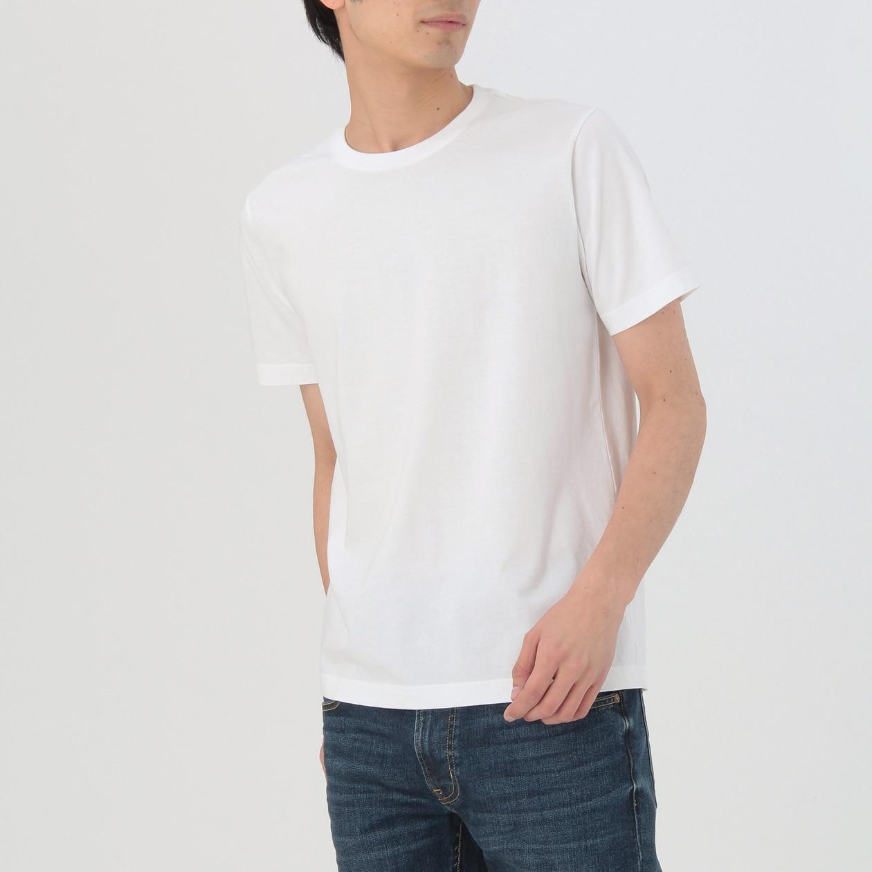 インド綿 天竺編みクルーネック半袖Tシャツ