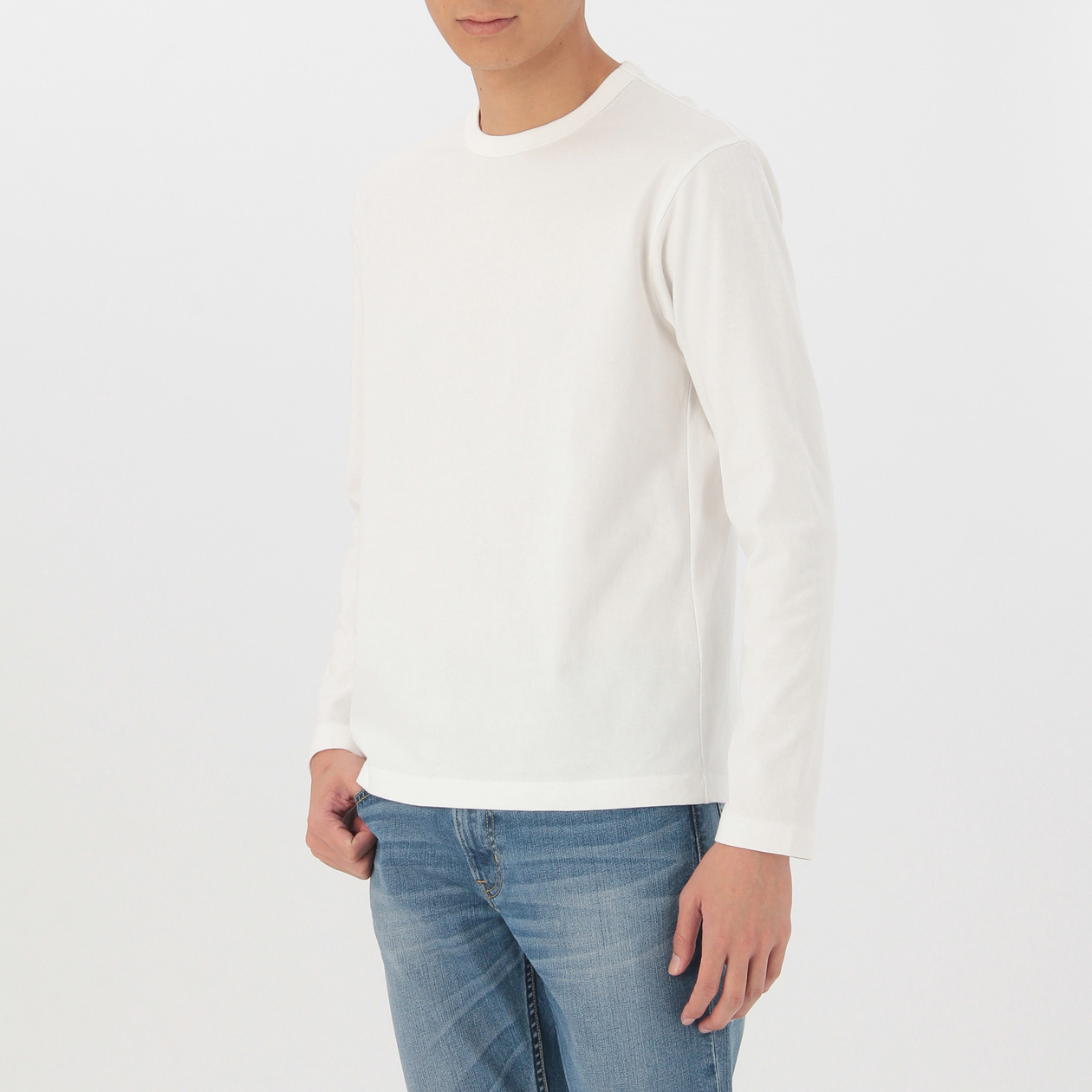 オーガニックコットン太番手クルーネック長袖Tシャツ