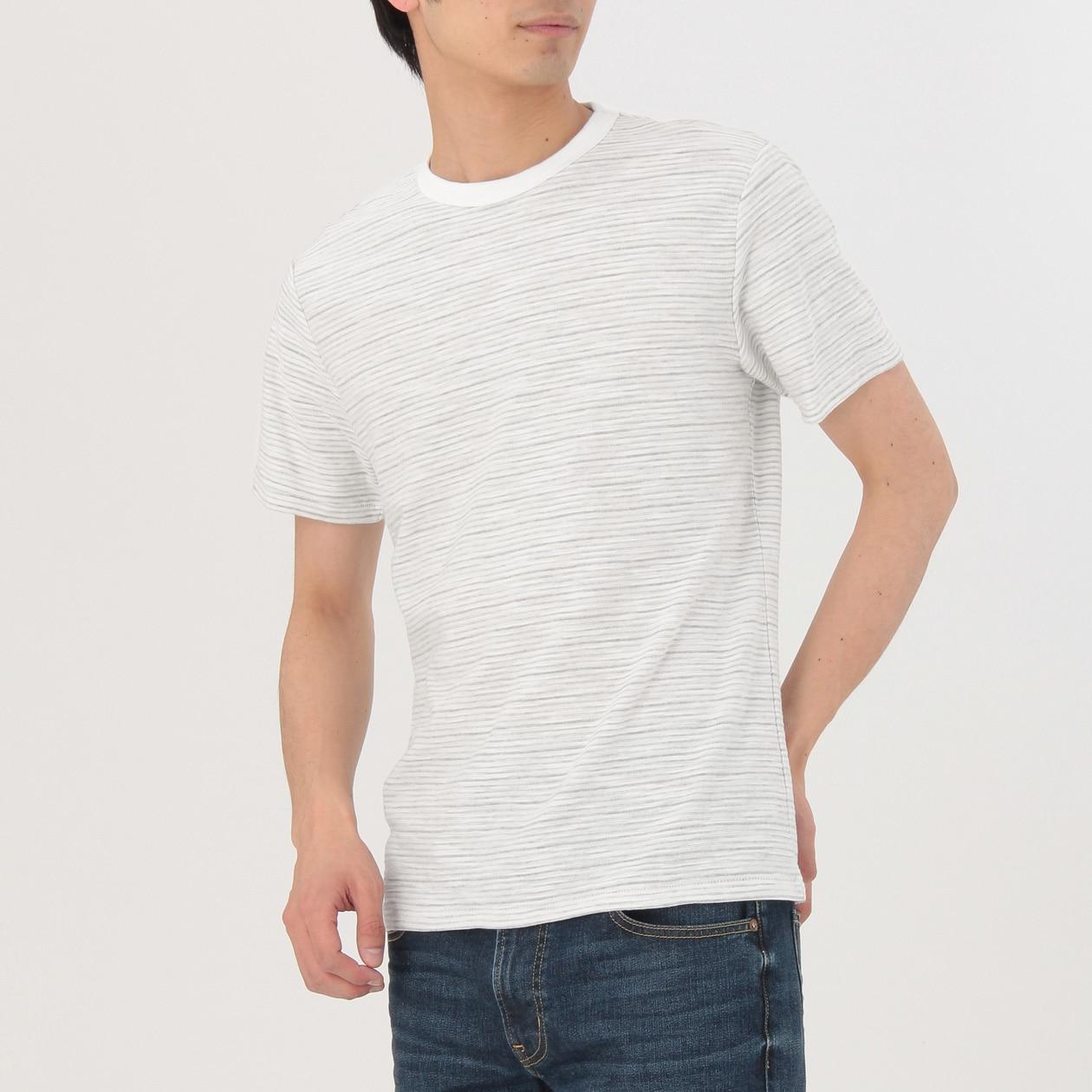オーガニックコットンムラ糸ボーダー半袖Tシャツ