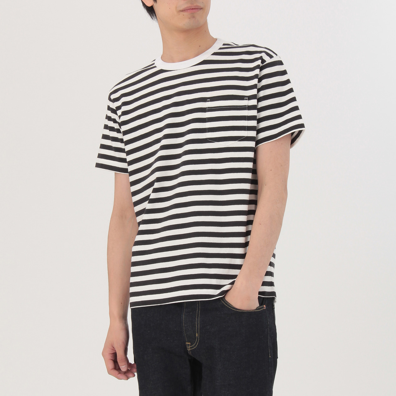 無印良品 | オーガニックコットン太番手ボーダーポケット付き半袖Tシャツ紳士XS・グレー×ボーダー 通販