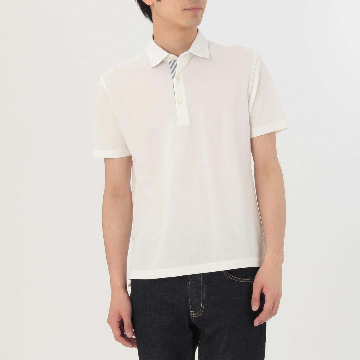 オーガニックコットン涼感布帛使いポロシャツ