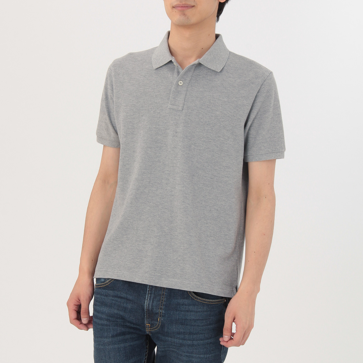 新疆綿 鹿の子編み半袖ポロシャツ