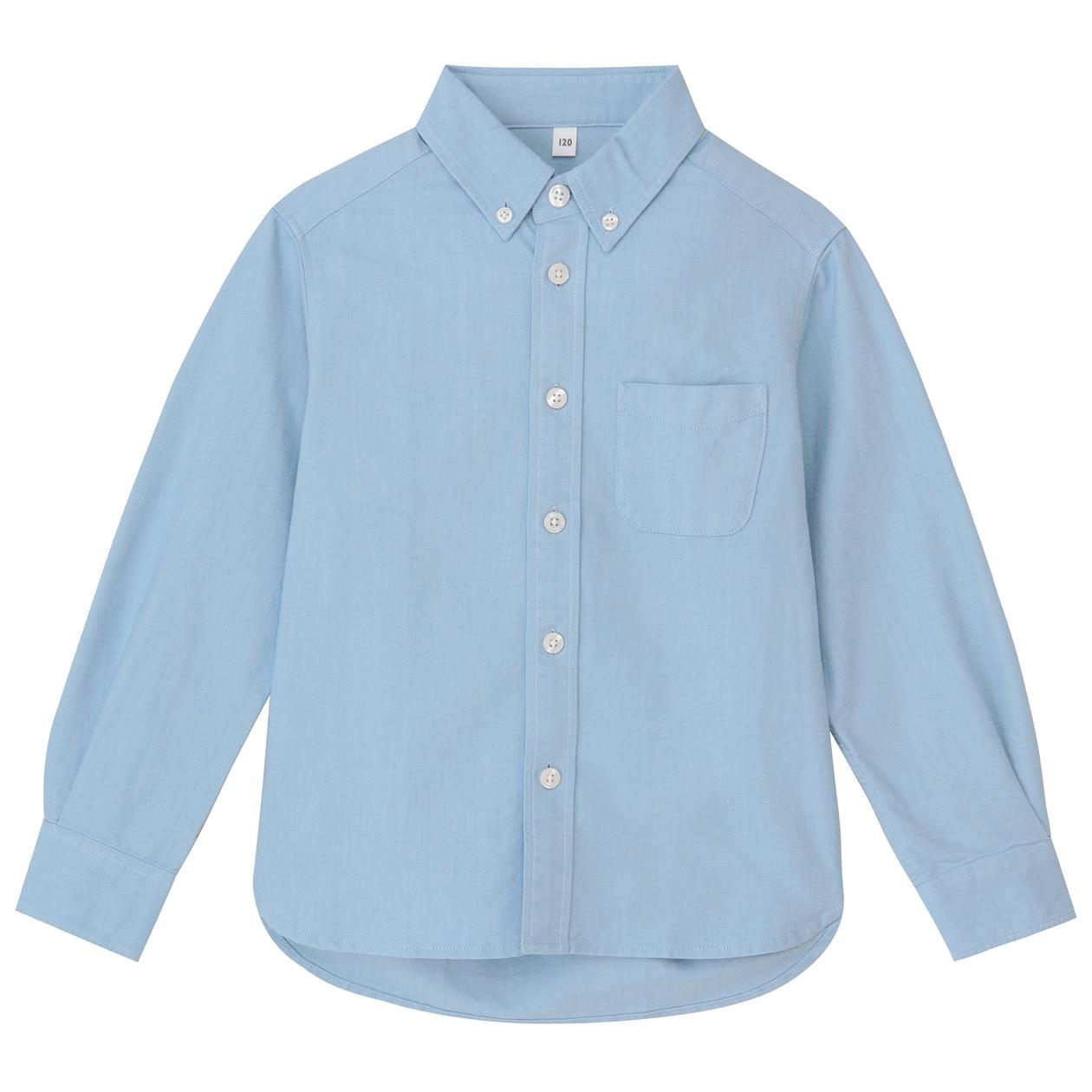 Organic Cotton Oxford Button Down Shirt Kids Muji