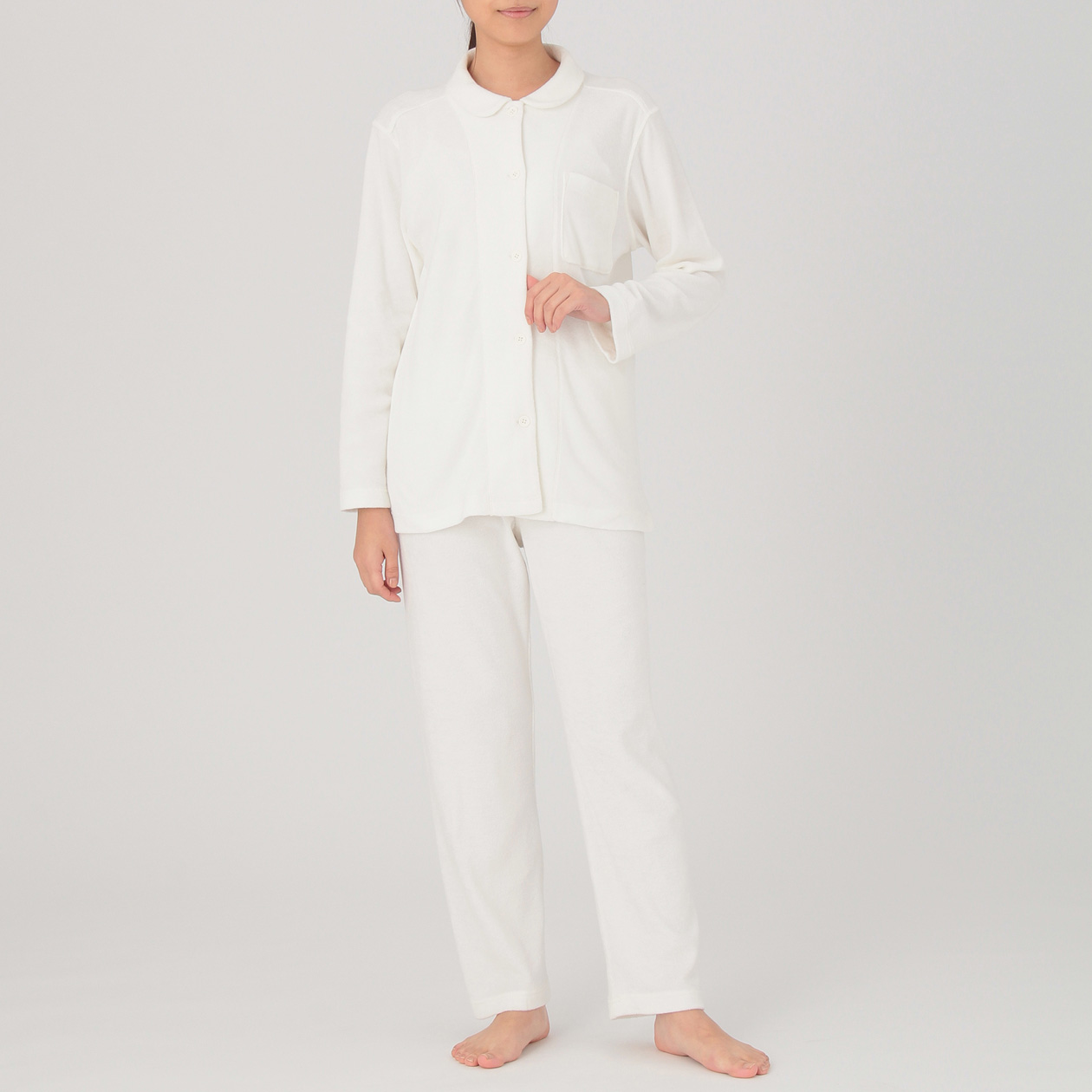 脇に縫い目のないパイルパジャマ