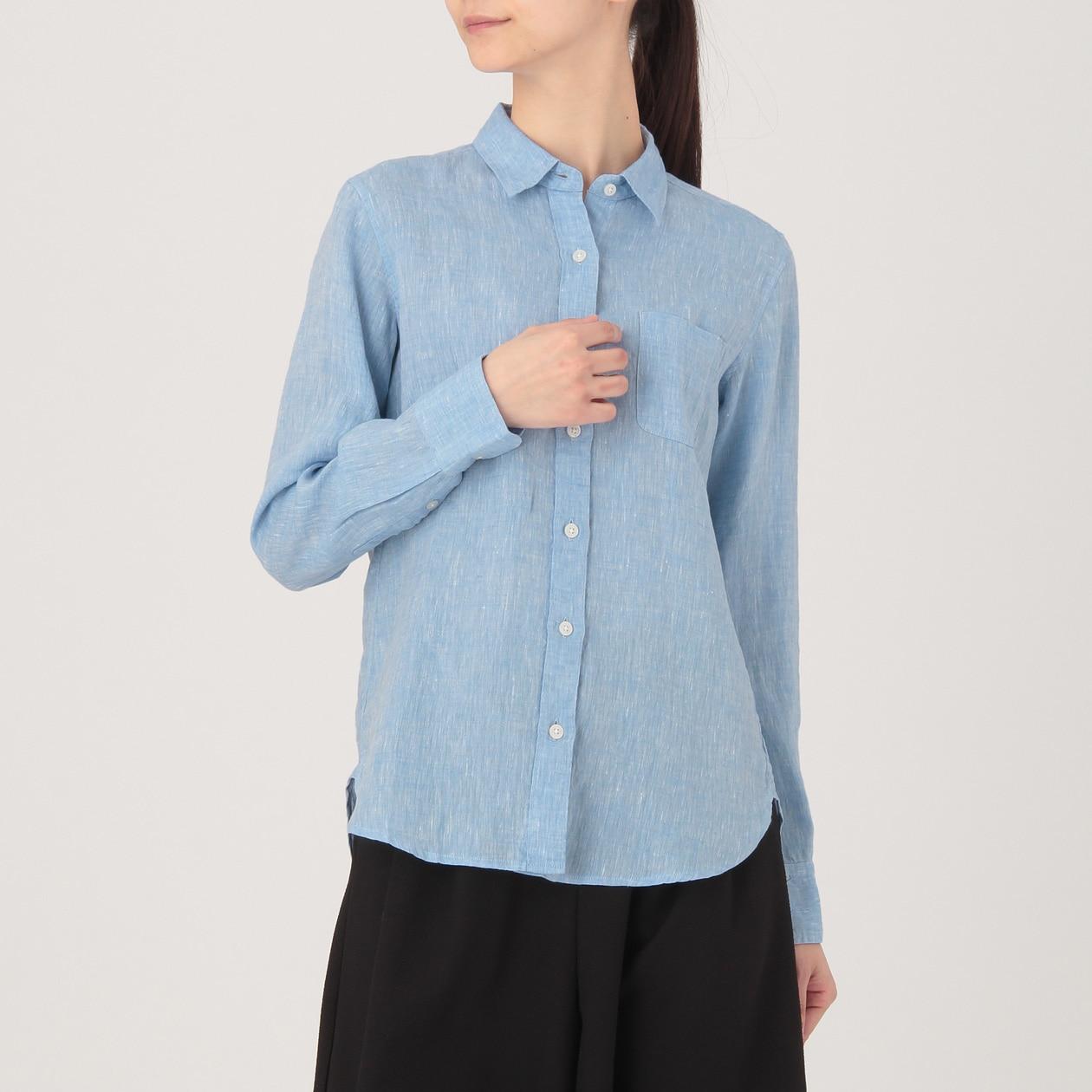 フレンチリネン洗いざらしシャツ 婦人M・ブルー