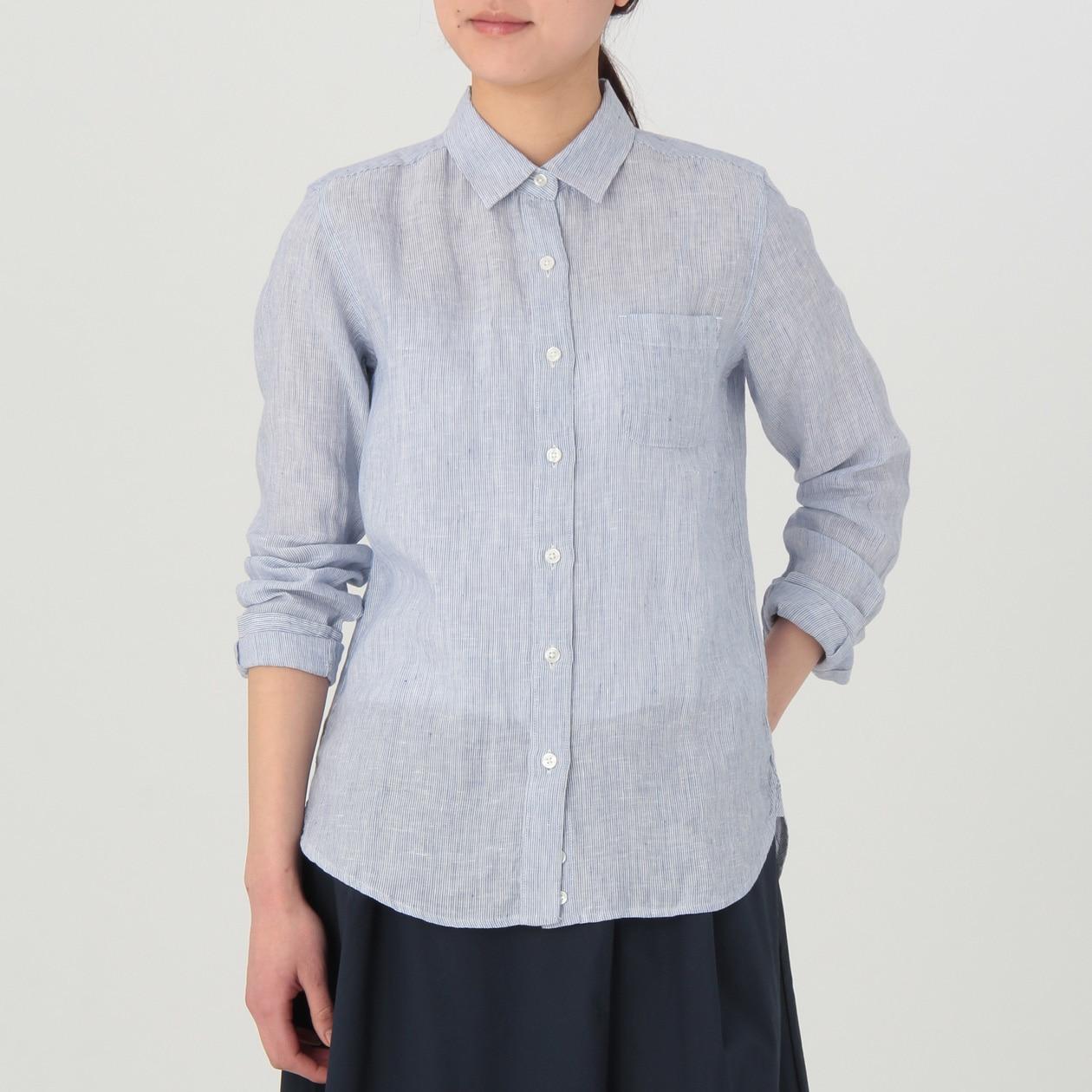 フレンチリネン洗いざらしストライプシャツ