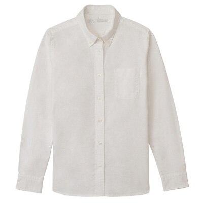 無印良品 | オーガニックコットン洗いざらしオックスボタンダウンシャツ婦人XS・白 通販